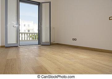 loofhout, kamer, lege, vloer