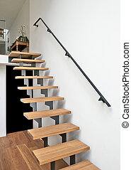 loofhout, trap, in, modern leven, kamer