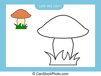 Coloring page outline of a mushroom with colored example. Vector illustration, coloring book for kids preschool activities.
