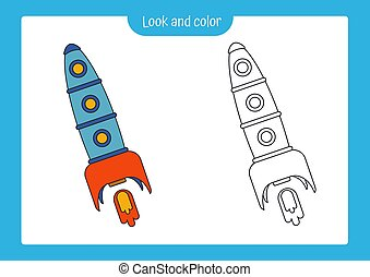 Coloring page outline of a rocket with colored example. Vector illustration, coloring book for kids preschool activities.