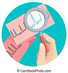 Look at atrial fibrillation through magnifying glass held by...