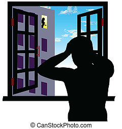look at the girl through the window vector illustration