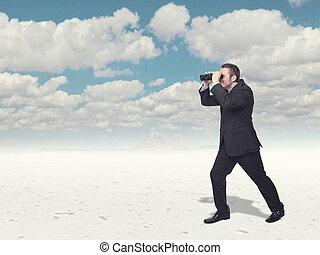 look far - businessman loo with classic binoculars