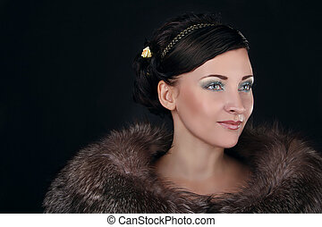 Look Fashion Woman in fur coat with make up. Luxury Style