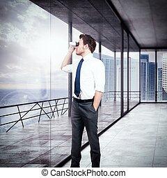 Look forward - Businessman looking with binoculars from his ...