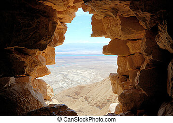 View from Masada fortress in the direction of the Dead Sea.