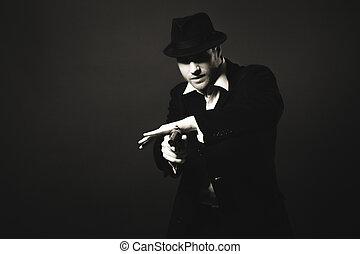 look., gangster, middernacht, ouderwetse