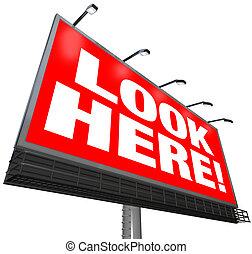 Look Here Billboard Outdoor Advertising Marketing Attention