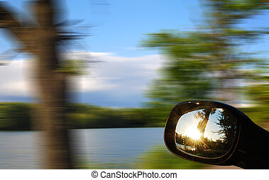 look in the mirror car - view mirrors in cars at the setting...
