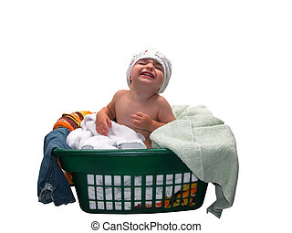 Look Ma! - I found my potty pants! Baby in diaper sitting in...