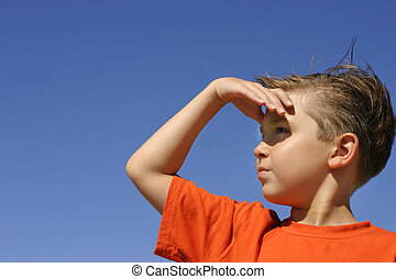 Looking for a solution? answers? etc Future outlook Surveying an area Hope or expectation A boy looks yonder way hand shielding the sunshine Looking for a solution? answers? etc Future outlook Suveying an area Hope or expectation A boy looks yonder way hand shielding the sunshine