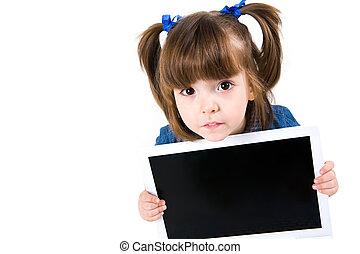 Look! - Portrait of intelligent schoolgirl showing something...