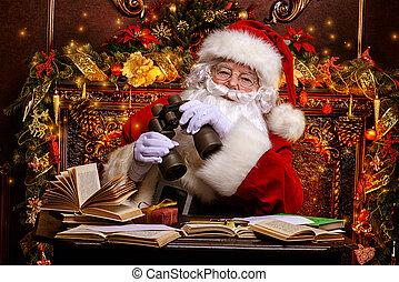 look through binocular - Santa Claus is preparing for...