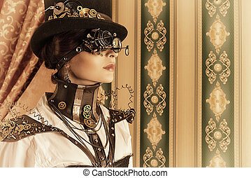 look through - Portrait of a beautiful steampunk woman over...