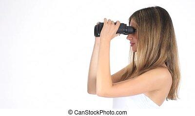 look through the binoculars