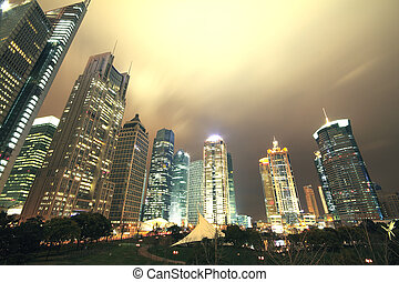 Look up modern office buildings in Shanghai