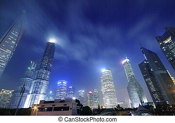 Look up modern office buildings in Shanghai Lujiazui