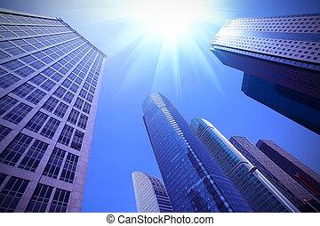 Look up modern urban office buildings in Shanghai