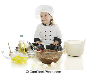 """Look What I'm Doing! - An adorable preschool """"chef"""" happily..."""
