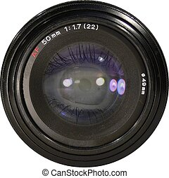 Isolated slr lens with eye reflection in the glass.
