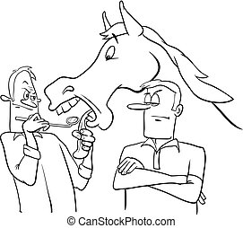 looking a gift horse in the mouth cartoon - Black and White...