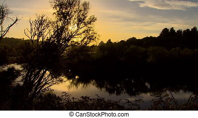 Looking across a pond at sunset - Slow pan and tilt looking...