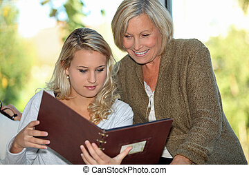 Looking at a family photo album
