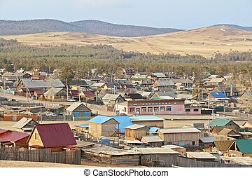 Khuzhir city - Looking at colorful roof of houses in Khuzhir...