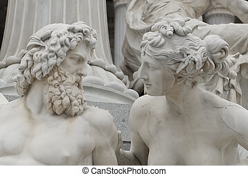 looking at each other - the famous sculptures around the...