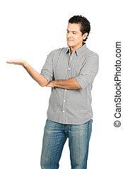 Looking At Hand Latino Man Displaying Product V