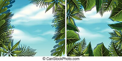 Looking at sky from bottom view in forest illustration