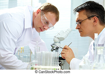 Looking at specimen