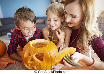 Looking at the interior of the pumpkin