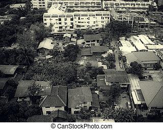 Looking at view of Bangkok airport from flight