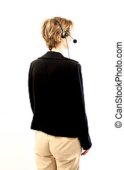 Looking Back - receptionist from her back
