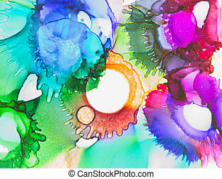 Abstract splotches of alcohol based inks producing odd looking face looking down