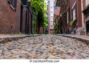 Looking Down Acorn Street Boston