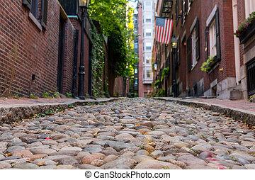 Looking Down Acorn Street Boston