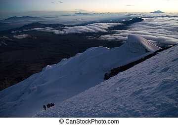 looking down - an expedition on its way up to the summit