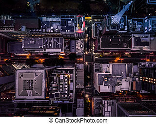 Looking down at buildings in the city