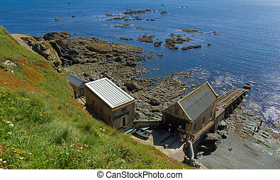 Looking down at Lizard Point Old Lifeboat Station in Cornwall UK
