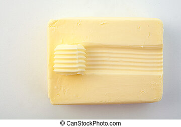 Looking Down at Slab of Butter with Curl on Top - High Angle...