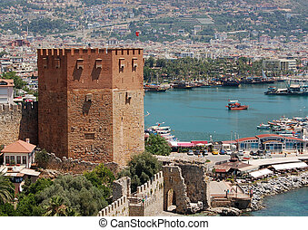 looking down from the Alanya Castle to the Mediterranean Sea