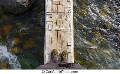 Looking Down on Feet Crossing Log Bridge