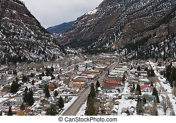 Ouray - Looking down on Ouray, Colorado in winter