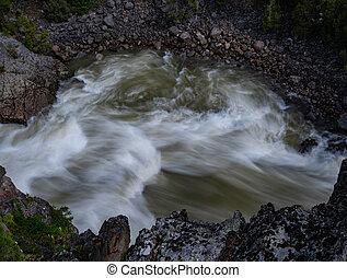 Looking Down on Swirling Waters in Hellroaring Creek
