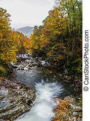 Looking Down on Waterfall in Fall
