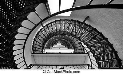 Looking Down - Stairs at the St Augustine Lighthouse in St...