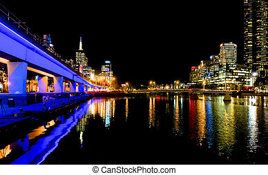 Looking down the Yarra at Melbourne lights at night -...