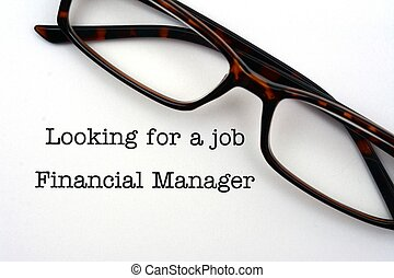 Looking for a job financial manager